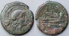 97/7a Luceria L Uncia. Italian civic mint. o / Roma, attic helmet / L; ROMA / Prow / o. AM#10240-55, 20.5mm 5g46