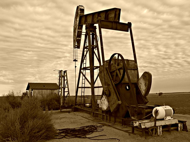 Pump Jack in sepia