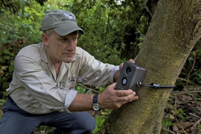 Dr. Alan Rabinowitz sets a camera trap