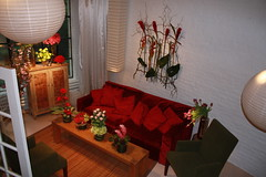 Red Velvet Sofa couch rental
