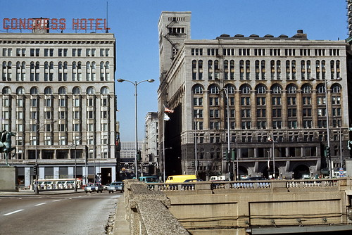 Auditorium Building and Congress Hotel in 1966