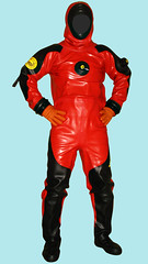 superhero(0.0), diving equipment(0.0), cartoon(0.0), action figure(0.0), personal protective equipment(1.0), clothing(1.0), costume(1.0), dry suit(1.0),