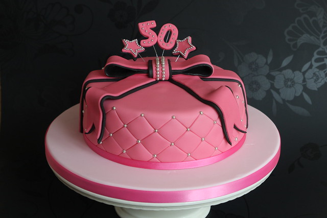 Pink And Black 50th Birthday Cake Flickr Photo Sharing