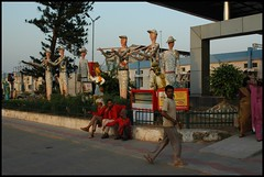 Chandigarh, The railway station, with rock garden statues