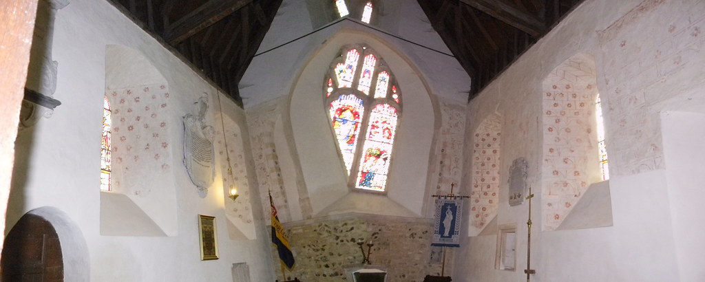 If Picasso built churches....... relax......it's a composite showing both sides' medeval decorations. Silchester. Mortimer to Aldermaston