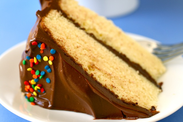 yellow butter cake with chocolate frosting 3 | Flickr - Photo Sharing!