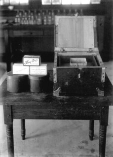 Butter shipper and cartons in dairy lab of the agricultural experiment station
