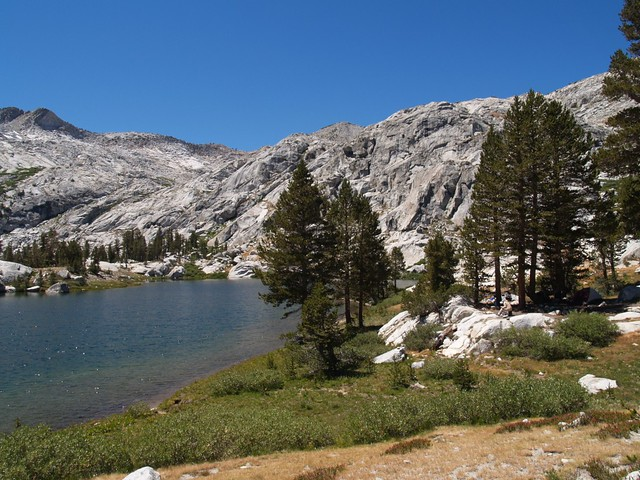 Granite Lake. Our tent can be seen under the trees on the right.
