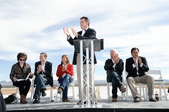 Pictured left to right: Pat Hynes, New Mexico Space Grant Consortium Director, George Whitesides, CEO of Virgin Galactic, Lori Garver, NASA Deputy Administrator, Rick Homans, Spaceport America Executive Director (speaking), Sir Richard Branson and New Mex