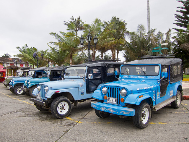 Share jeeps in Salento's main plaza