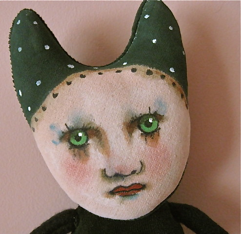 Velveteen Green cat girl art doll