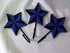 Set of 3, Hand Painted, Wooden, Tattoo Style, Nautical Star Wall Hooks .•´¸.•*´¨) ¸.•*´¨) (¸.•´ (¸This