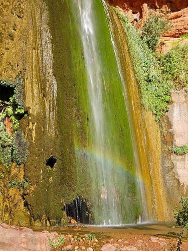 rainbow at ribbon falls in the grand canyon