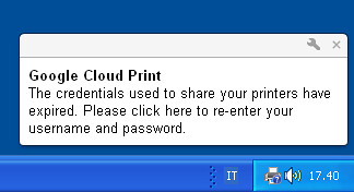 Google Cloud Print è integrato con il tray di Windows