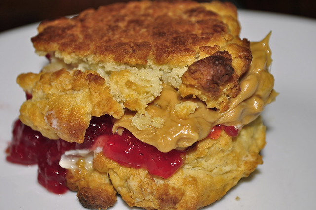 Mmm... buttermilk drop biscuit peanut butter sammich
