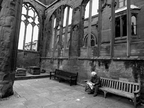 The Reader: Inside the Ruins of St Michael's Cathedral Coventry UK