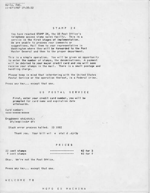 Mofo Ex Machina BBS page 1