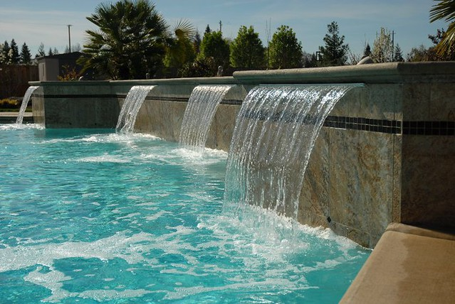 Custom built pool with sheet waterfalls  Flickr - Photo Sharing!