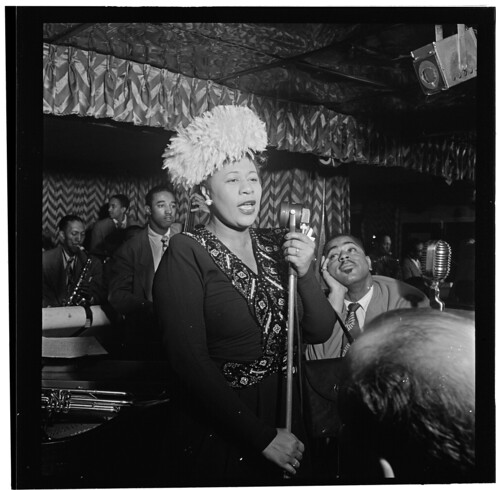 [Portrait of Ella Fitzgerald, Dizzy Gillespie, Ray Brown, Milt (Milton) Jackson, and Timmie Rosenkrantz, Downbeat, New York, N.Y., ca. Sept. 1947] (LOC) by The Library of Congress
