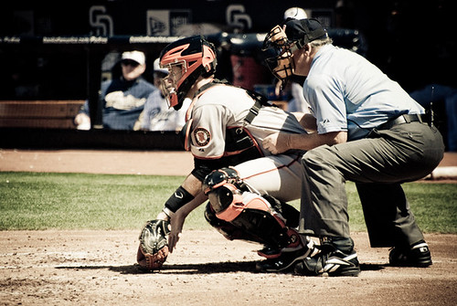 Buster  Posey blocks a ball in Dirt
