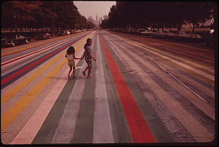 Crossing the painted road which extends east from the Philadelphia Museum of Art.  Center City in the background, 09/1973.