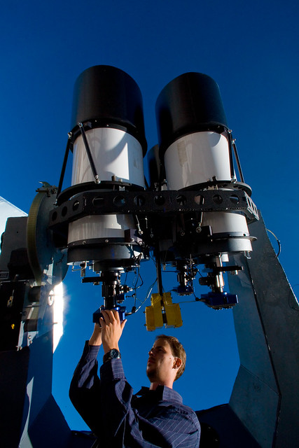 James Wren servicing LANL's latest RAPTOR (RAPid Telescopes for Optical Response) telescope. This telescope will capture the first color cinematography of nature's largest explosions: gamma-ray bursts.  Photo by LeRoy Sanchez.