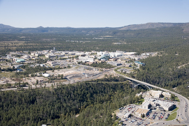 Aerial view of the LA Bridge, also known as the Omega Bridge and LANL's main Technical Area (TA-3).  Photo by Mike O'Keefe.
