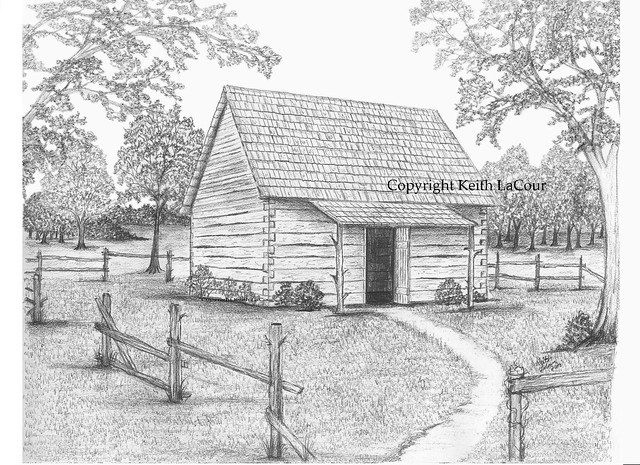 Pencil Drawings Of Small Log Cabins