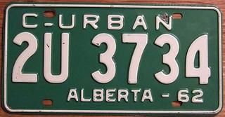 ALBERTA 1962 ---URBAN COMMERCIAL PLATE