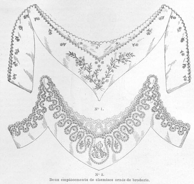Empiècements de chemise de corps en broderie anglaise