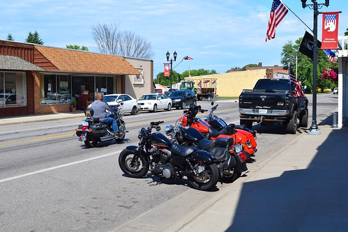motorcycles smalltown greyeagle minnesota rural sunnyday mainstreet usa