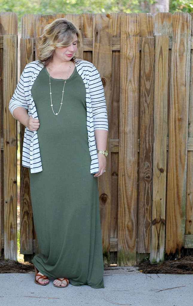 maternity green maxi, blue stripe cardigan 3