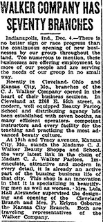Madame CJ Walker Company Has 70 Branches - December 4, 1924