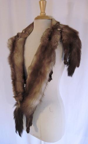 Vintage 50s Stone Marten Mink Pelt Real Fur Wrap Stole