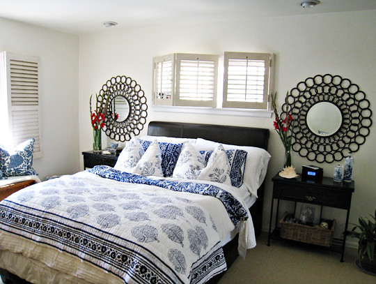 tropical beach style bedroom decorating ideas blue and white floral