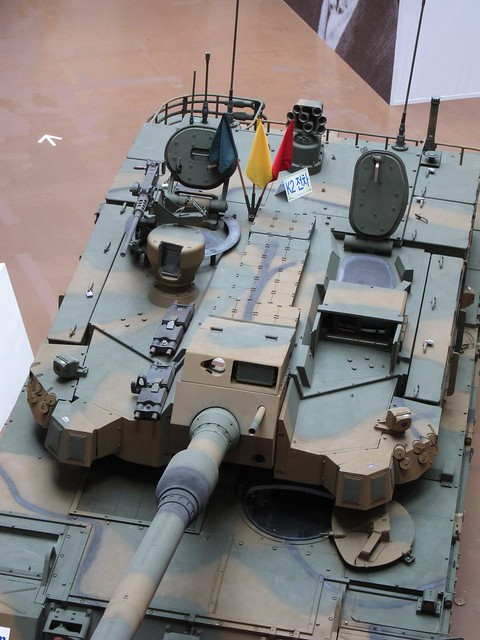 Turret of K2 Main Battle Tank, with a 120mm main gun, a 12.7mm K6 machine gun and a 7.62mm coaxial machine gun