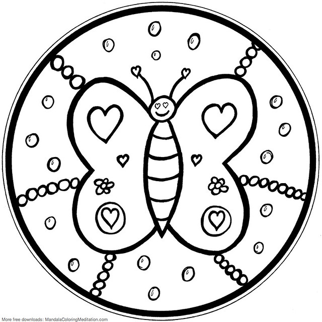 printable children coloring page butterfly mandala flickr photo sharing