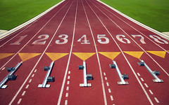 starting blocks on a track