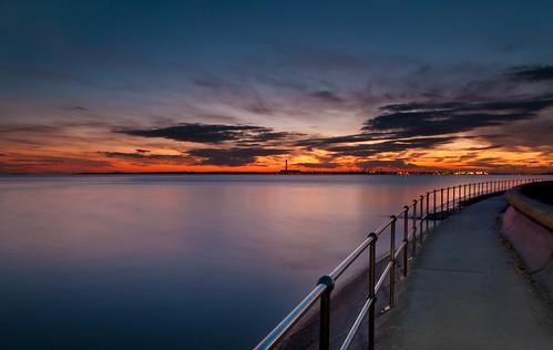 longexposure sunset sky seascape clouds path hampshire calm solent railings fareham hillhead fawley