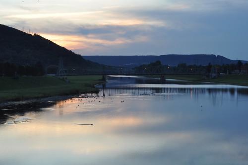 bridge sunset ny birds clouds river landscape twilight corning chemungriver