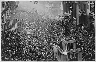The announcing of the armistice on November 11, 1918, was the occasion for a monster celebration in Philadelphia, Pennsylvania...on Broad Street.
