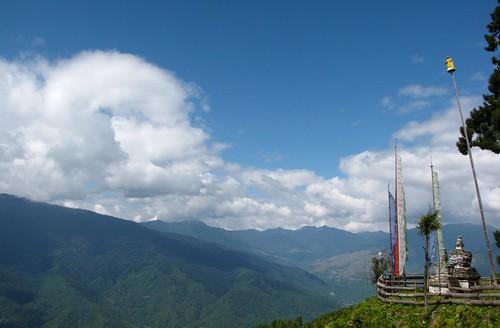 chorten and mountain view