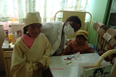 Ann Oluloro and patients at Hospital del nino, La Paz