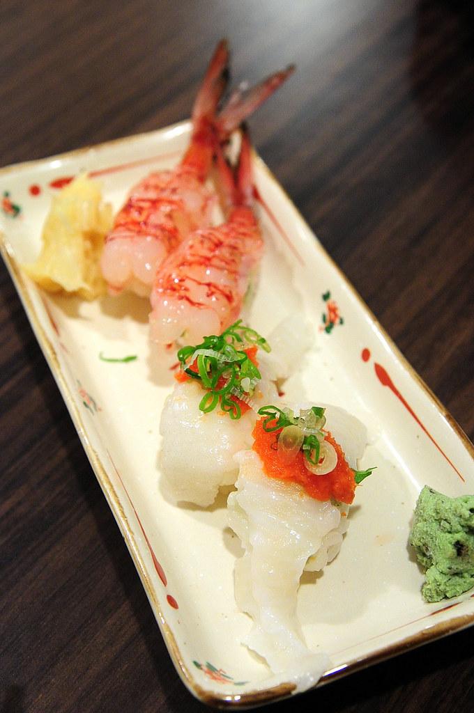 竹壽司-比目魚緣側 & 胭脂蝦握壽司