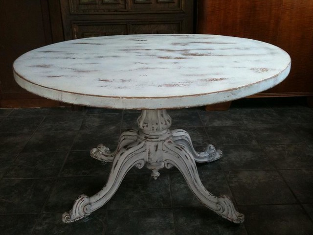 Anitque White Shabby Chic Round Dining Table Flickr Photo Sharing