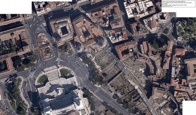 """""""Roma. Vista Aerea dell'Area Archeologica (2007-08), Parte 1: da Piazza Venezia al Il Mercati di Traiano & Foro di Traiano."""" (scala 1:500)."""
