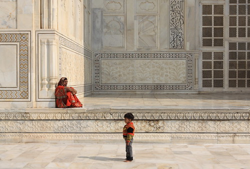 Mother and Son at Taj Mahal, India