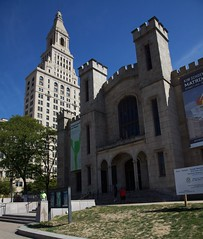 Wadsworth Atheneum with Travelers Tower in the background.
