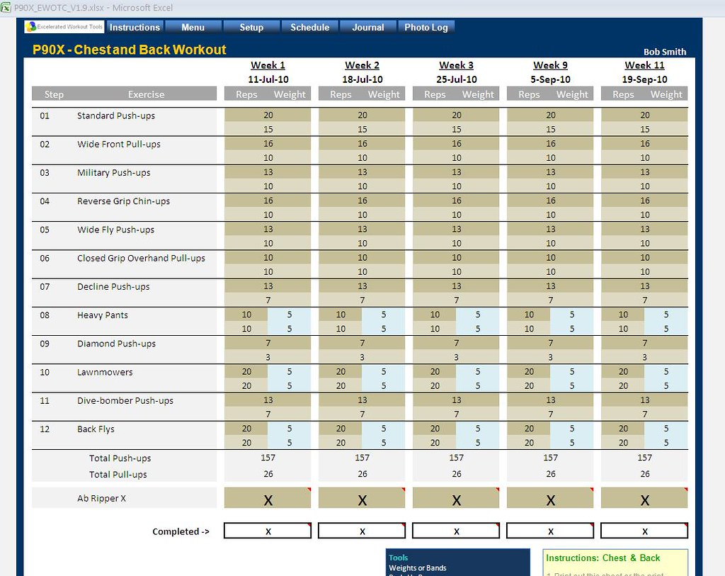 Flickr photos tagged healthsoftware – P90x Legs and Back Worksheet