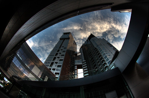 city architecture buildings skyscrapers poland polska fisheye hdr gdynia seatowers samyang canoneos40d